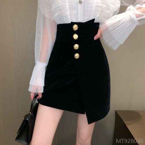 2020 new half-length skirt, autumn fashion, winter fashion, high waist, black gold velvet bag, hip skirt