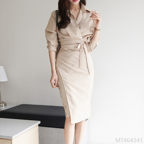 2020 new sexy shirt dress women autumn French retro bag hip skirt