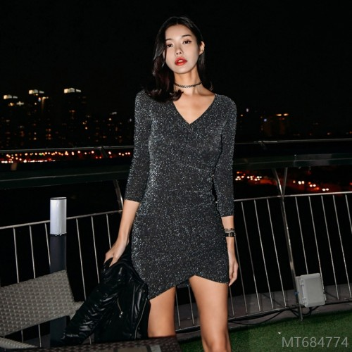 2020 new style sexy nightclub style autumn fashion look thin waist temperament V-neck