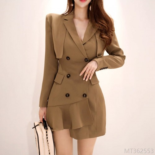 2020 new light mature style suit dress women double breasted slim slimming temperament