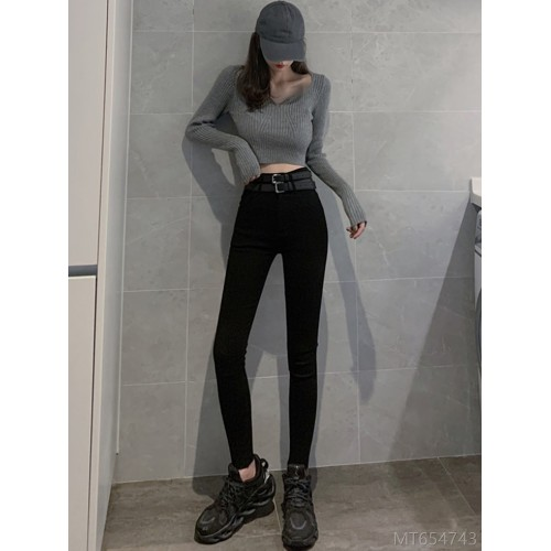 2020 new year fashion autumn and winter tight-fitting high-waisted pants slim design black pencil feet long pants women