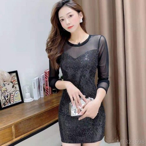 2020 new season fashion women's slim mesh long sleeve sexy hip dress commuter cover