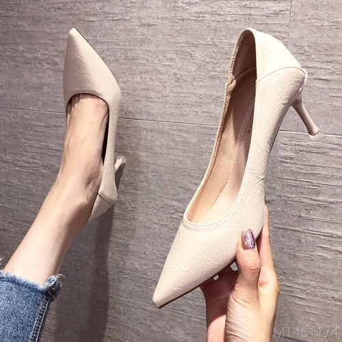 2020 new pointed high heels stiletto pure color single shoes fashion Korean fashion personality work shoes-PU