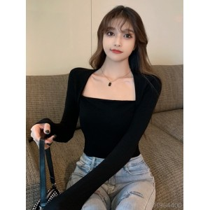 2020 new arrivals clavicle bottoming shirt tops women's year fashion season all-match tight-fitting slim short t-shirt square