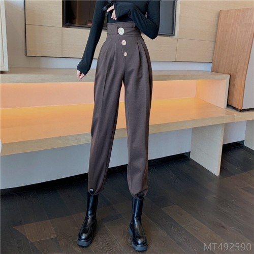 2020 new new nine-point casual harem pants autumn and winter fashion wide-leg thickened wild high-waisted woolen cloth