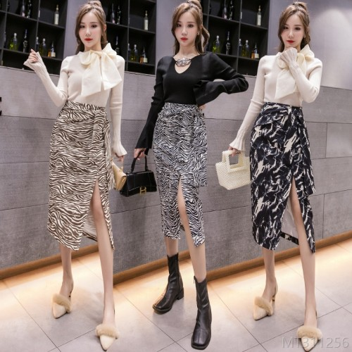 2020 new all-match autumn and winter fashion Korean style split strap leopard print skirt