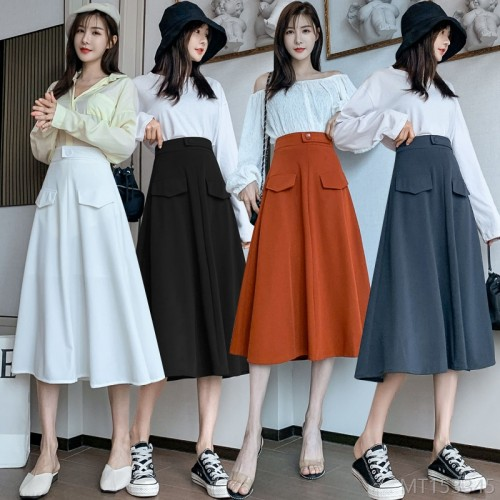 2020 new arrivals pleated skirt high waist autumn and winter fashion Korean version