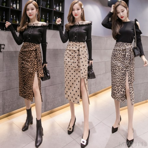 2020 new autumn and winter new products split strap deerskin velvet leopard skirt