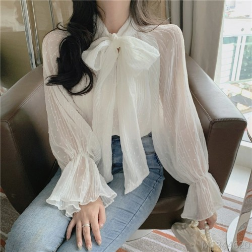 2020 New Fall Fashion French Knot Long Sleeve Chiffon Top