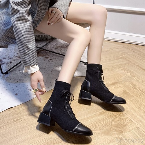2020 new style net red Martin boots fashion British style short boots front lace-up ankle boots-single shoe suede square