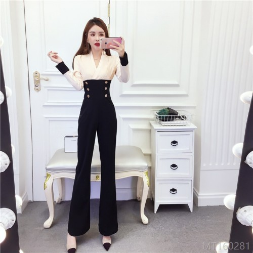 2020 new chiffon stitching contrast color slimming slim jumpsuit