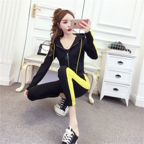 2020 new color matching casual sports top + thin pants suit