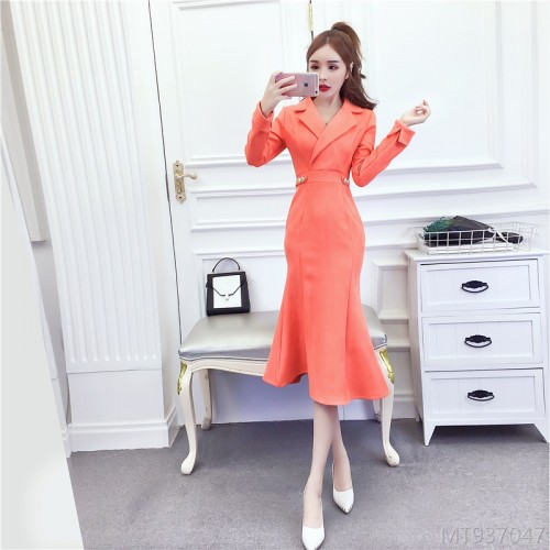 2020 new deerskin velvet dress long skirt lapel thin bag hip dress