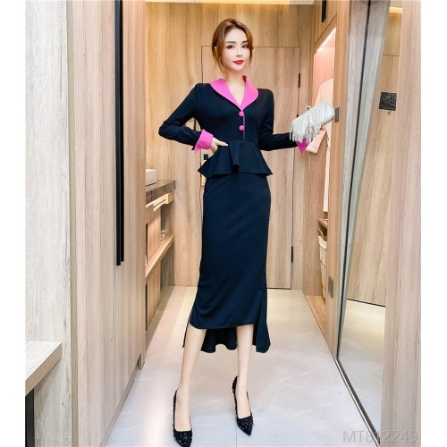 2020 new net red lapel contrast dress long skirt irregular dress