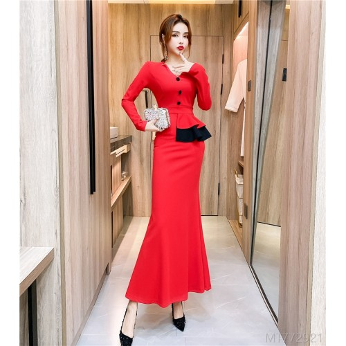 2020 new v-neck contrast color ruffled dress long skirt bag hip dress