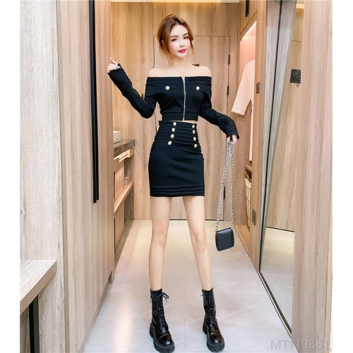 2020 new temperament net celebrity one-line collar top and hip skirt suit two-piece suit