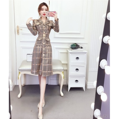 2020 new deerskin velvet plaid mid-length coat bag hip dress