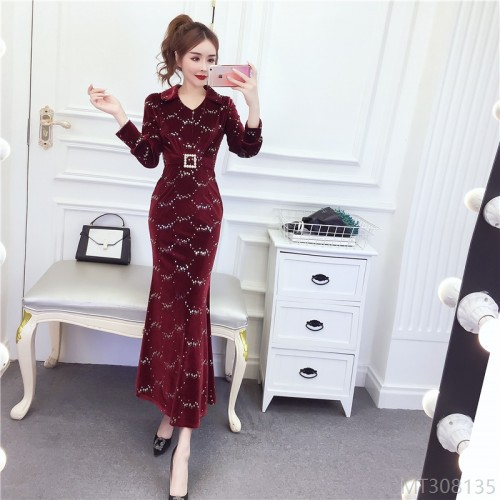 2020 new fleece dress long skirt waist slim dress