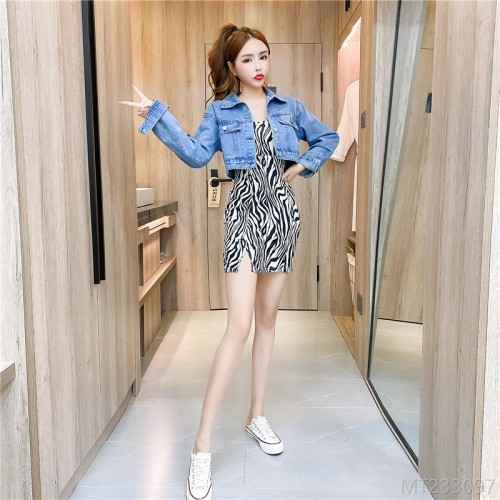 2020 new printed bag hip dress + denim short jacket suit
