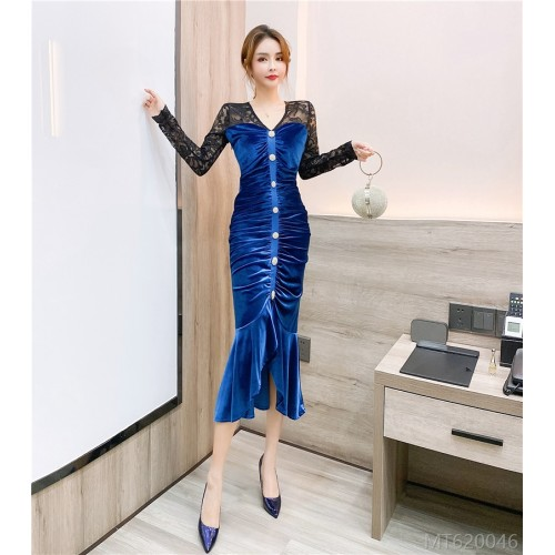 2020 new air lace stitching gold velvet dress long skirt bag hip dress