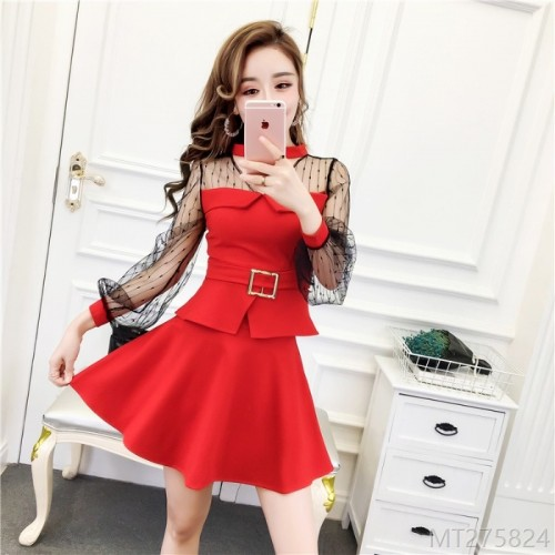 2020 new net red net yarn top + waist waist slim skirt suit