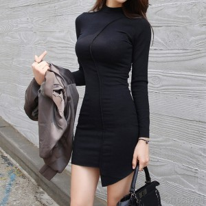 2020 new autumn dress sexy tight-fitting hip skirt black long sleeves
