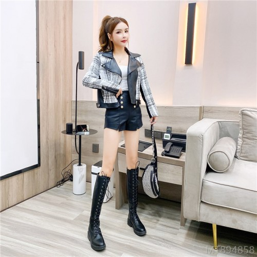 2020 new leather plaid jacket suspender shorts suit three-piece suit