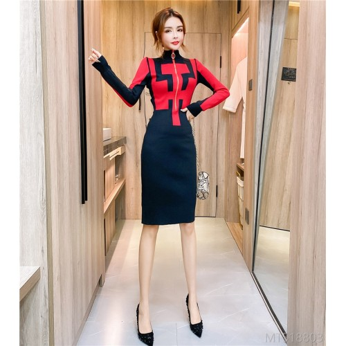 2020 new all-match winter mid-length skirt tight-fitting hip dress 2