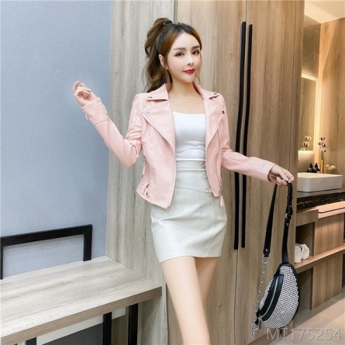 2020 New Lapel Leather Jacket + Sling + Bowknot Short Skirt Set Three-piece Set