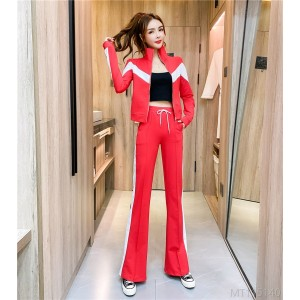 2020 new contrast color casual sports top slim flared trousers suit