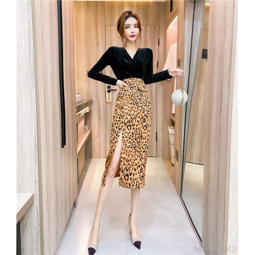 2020 new gold velvet stitching printed leopard print long skirt bag hip dress