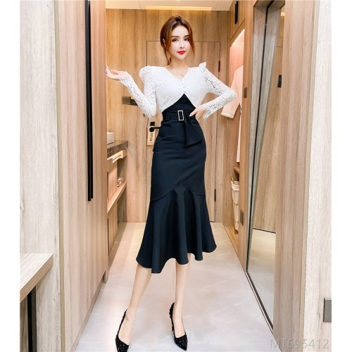 2020 new splicing single breasted dress long skirt bag hip dress