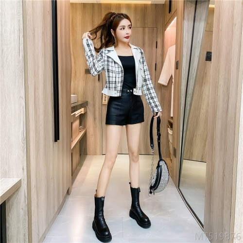 2020 new plaid leather jacket tight suspender shorts suit three-piece suit