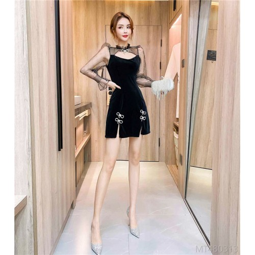 2020 new sexy mesh stitching bow knot bag hip dress