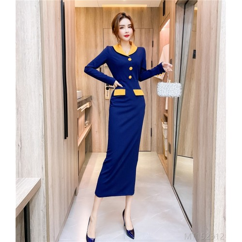 2020 new lapel single-breasted contrast color dress long skirt bag hip dress