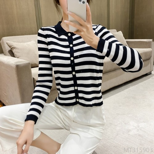 2020 new bottoming shirt women Korean style lapel stripe slim students simple