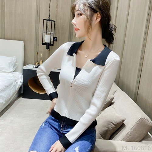 2020 new contrast color lapel student women clothes women long sleeve t