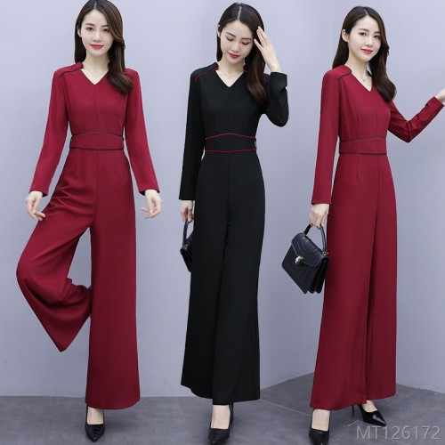 2020 new all-match high-waist belly-covering pants autumn fashion slim wide-leg jumpsuit
