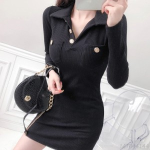 2020 New Fashion Early Autumn Sexy Slim Lapel Rib Solid Color Autumn Dress