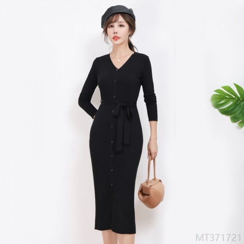 2020 New V-neck Slit Tie Base Skirt Knit Dress