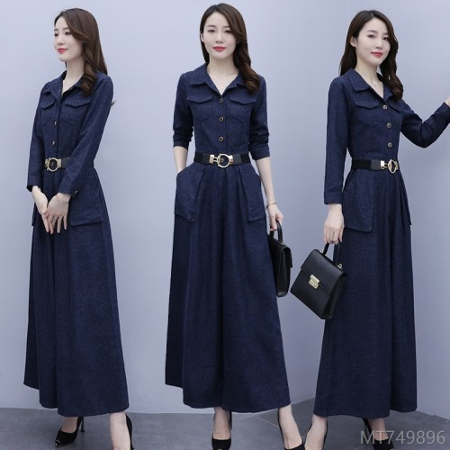 2020 new long-sleeved autumn and winter wide-leg jumpsuit fashion temperament jumpsuit