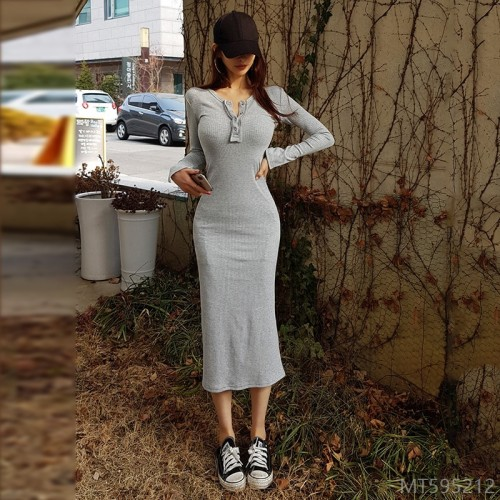 2020 new early autumn skirt female Korean style simple ribbed autumn dress