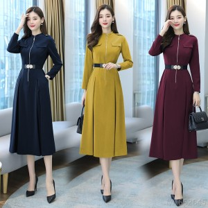2020 new all-match mid-length dress winter fashion