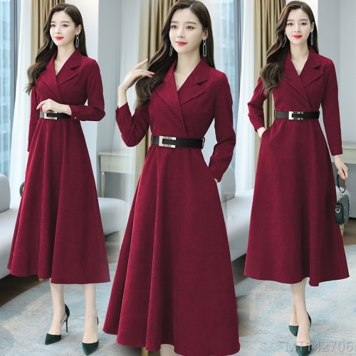 2020 new suit collar plus velvet thick corduroy over-the-knee dress