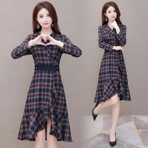 2020 new all-match slim suit collar thick inner base dress