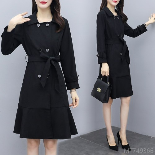 2020 new slim slim mid-length long-sleeved cardigan trench coat