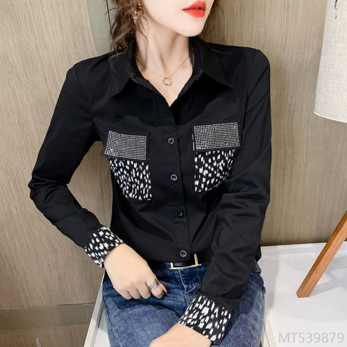 2020 new wild # autumn and winter fashion fashion contrast stitching hot diamond shirt