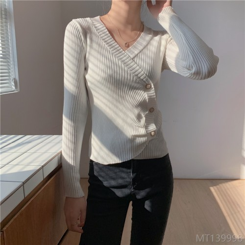2020 new irregular slim long-sleeved bottoming sweater for women