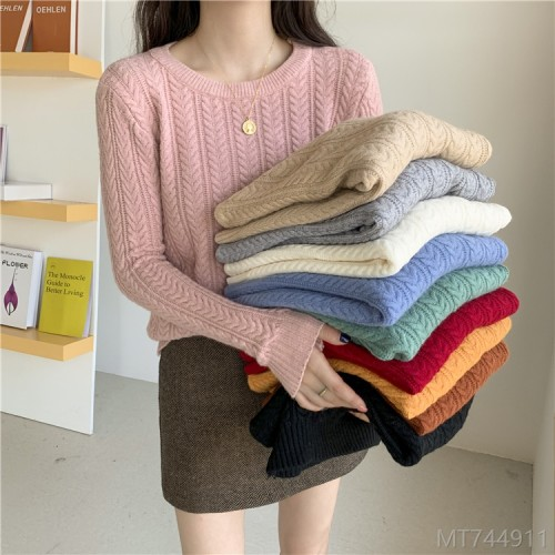 2020 new slim and slim twist sweater round neck pullover knit sweater