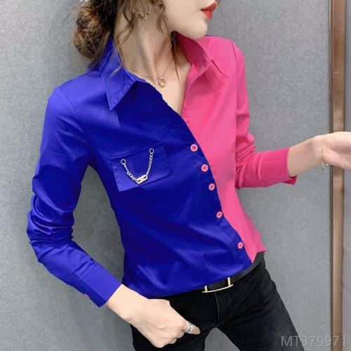 2020 new wild # autumn and winter fashion fashion color matching shirt